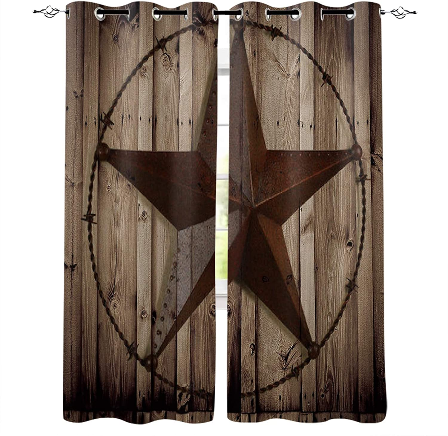 Texas Star Rust Window Curtains with Grommets Kitchen Drapes, Retro Wooden Stripes Grain 2 Panels Window Treatment Drapes for Living Room/Bathroom/Office 80