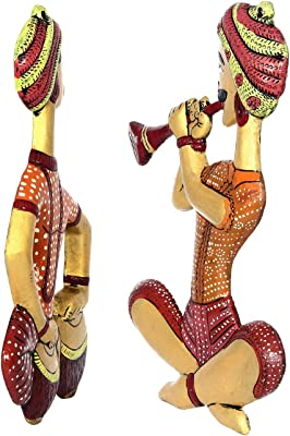 Handicrafts Paradise Set of Indian Men Playing Musical Instruments Wall Hanging in Metal 14 Inches