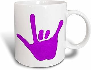 3dRose Love Hand Sign Language in Purple Ceramic Mug, 11-Ounce