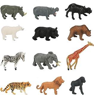 Globalstore Animals Figures, 12 Pack 3''x1.6'' PrehistoricAnimalsToys, Realistic Jungle Wild Zoo Animals with Elephant, ...