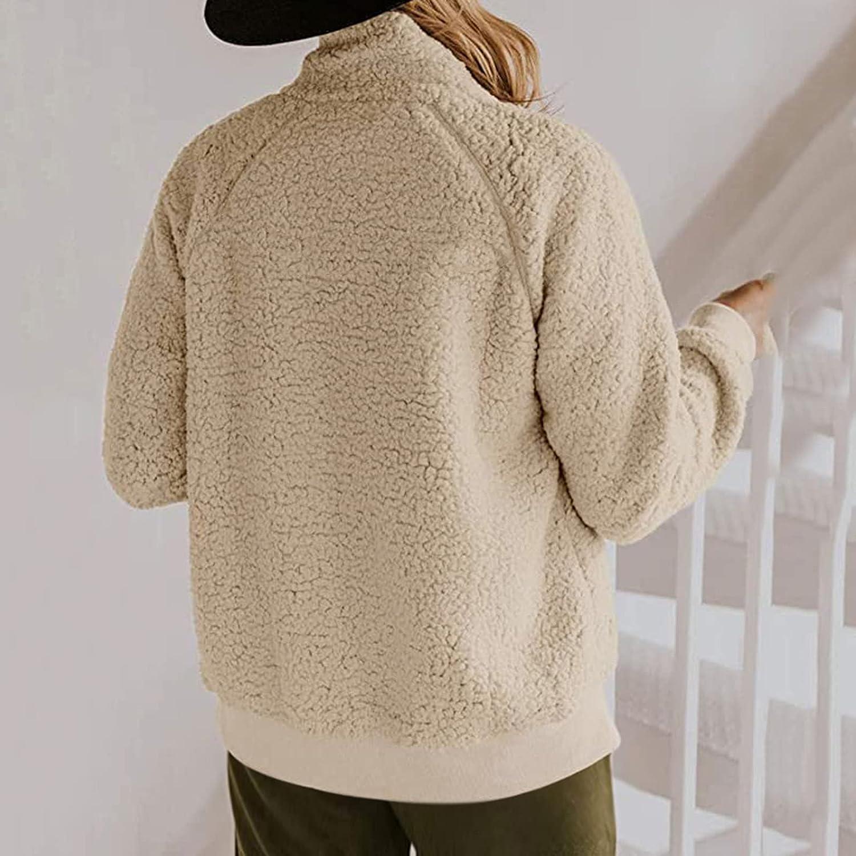 Haozin Womens Double Breasted Warm Faux Fur Jacket Fleece Teddy Bear Coat Long Sleeve Hooded Outerwear With Pockets