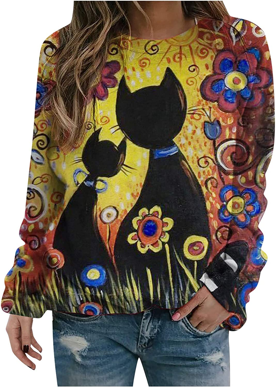 Hotkey Women's Dedication Sweatshirts Floral Cute Cat C Printed Fall Womens Limited Special Price