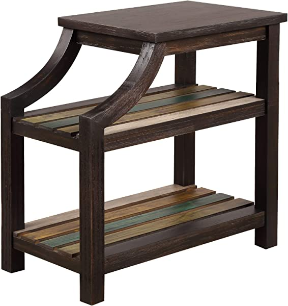 P PURLOVE End Table Solid Wood MDF Coffee Table For Living Room Sofa Table With 2 Slotted Multi Color Shelves Easy Assembly