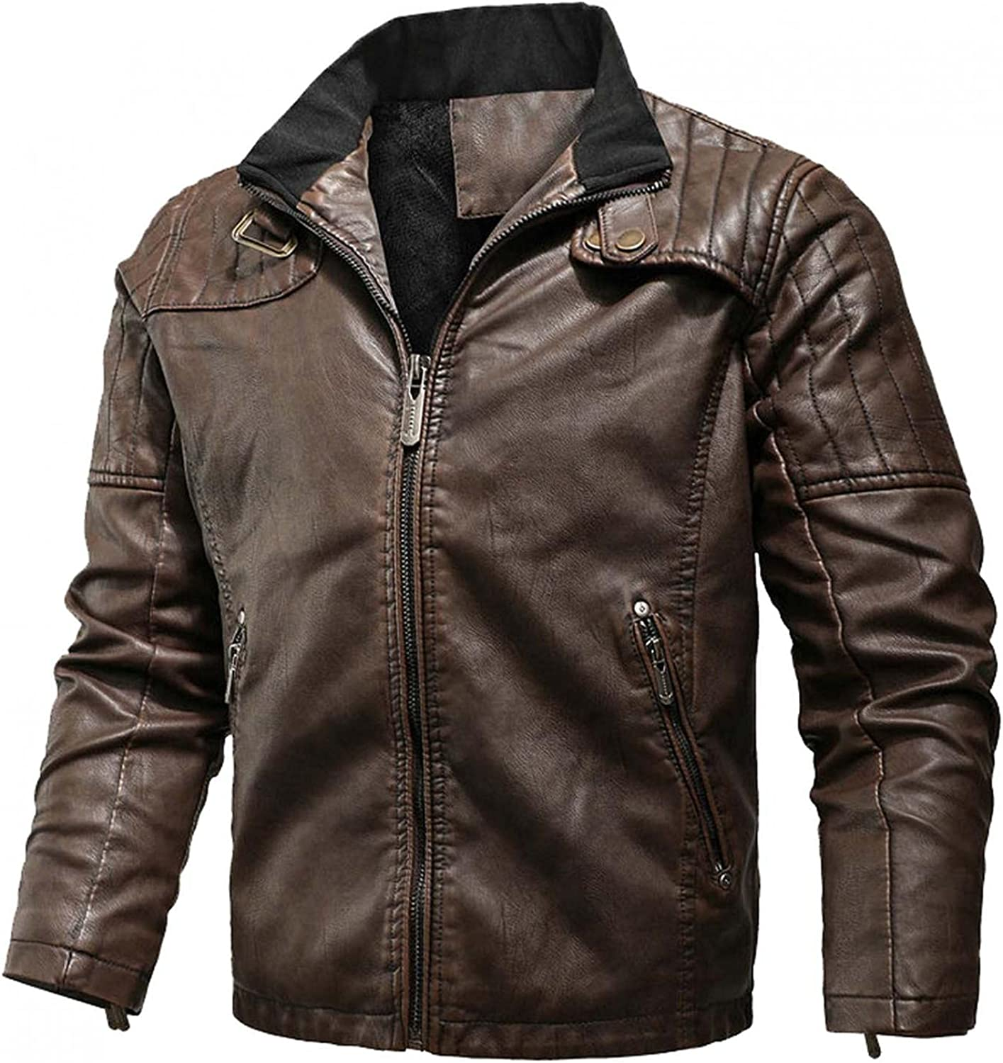 LEIYAN Mens Faux Leather Bomber Jacket Zip Up Long Sleeve Heavyweight Casual Vintage Warm Winter Motorcycle Coat