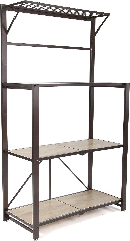 Origami Heavy Duty Durable Organizational Baker's Rack with Wood Shelf, Brown