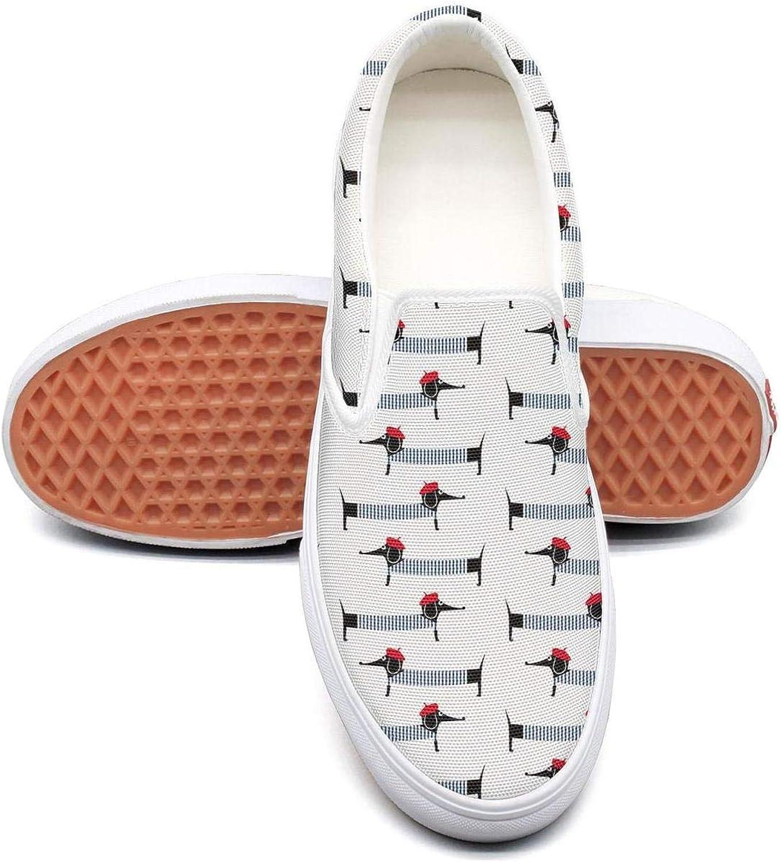 Refyds-es French Style Dog Cute Cartoon Dachshund Womens Fashion Slip on Low Top Lightweight Canvas Tennis shoes