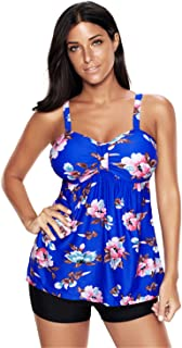 Century Star Women's Plus Size Swimsuit Floral Tank Top Tankini Sexy Push Up Padded Swimwear Beachwear