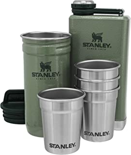 Stanley Stainless Steel Shot Glass and Flast Gift Set. Outdoor Adventure Pack with 4 metal shot glasses, 8oz whiskey flas...