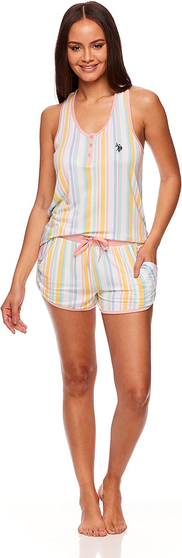 U.S. Polo Assn. Essentials Womens Pajama Racerback Tank and Pocket Shorts Sleepwear Set