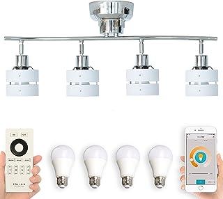 BELLED スマホ・リモコン対応 調光調色 LED電球付 リモコン付き シーリングライト 4灯 レダ リモートセット 6畳 照明器具 おしゃれ 木枠 (TOLIGO電球:リモコン:ホワイト)