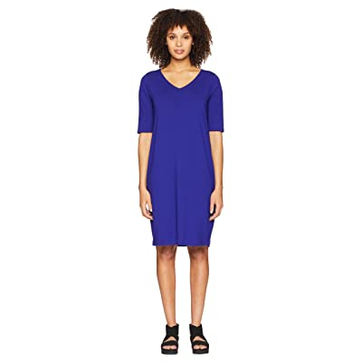 Eileen Fisher V-Neck Shift Dress (Blue Violet) Women