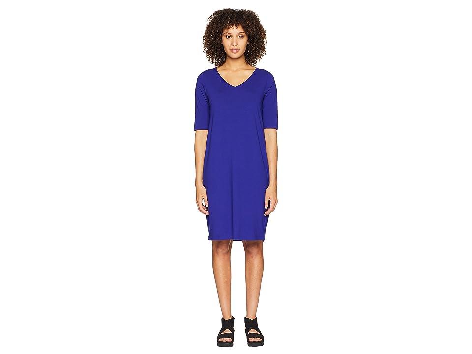 Eileen Fisher V-Neck Shift Dress (Blue Violet) Women