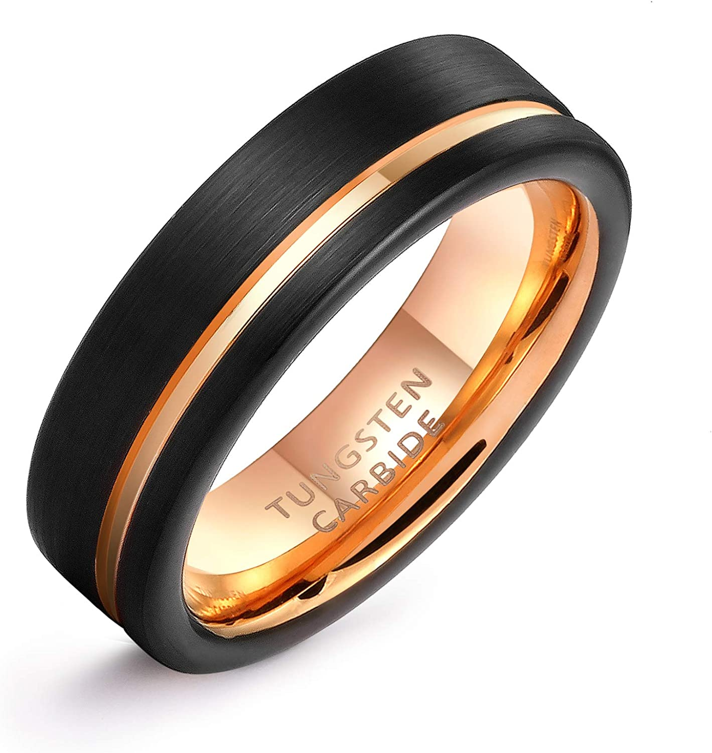 LerchPhi Personalized Engraved Promise Ring for Couples Engagement Wedding Bands Couples Matching Rings Black Tungsten Carbide Satin Finish Rose Gold Comfort-fit