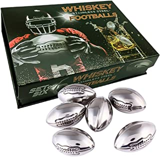 WHISKEY STONES STAINLESS STEEL FOOTBALLS SET OF 6 IN A LUXURY BOX Reusable Chilling Rocks Stone Ice Cubes Beer, Wine Chillers. Cool Birthday Gift Sets for Him Man Father's day Dad or Rugby Sports Fan.