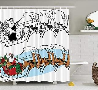 ASOCO Santa Claus Vintage Shower Curtain, Santa Claus Flying Sky Sleigh Reindeer Bathroom Shower Curtains Waterproof Set of Hooks 72X72 Inches,Santa Claus