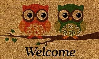 Cranberry Mats Designer Natural Coir Non Slip Doormat for Patio, Front Door, All Weather Exterior Doors - Animal Bird Two Owl