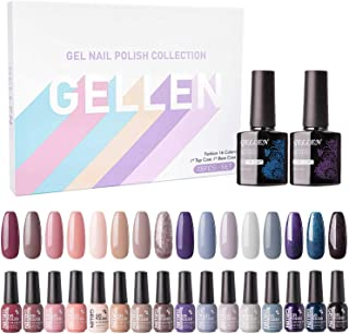 Gellen Gel Nail Polish Kit 16 Colors With Top Base Coat - Popular Autumn Winter Gel Colors Collection, Nude Shimmer Glitter UV Nail Gel Colors Manicure Set