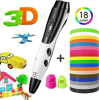 TOPELEK Plumas para impresión 3D, Lápiz 3D Inteligente, 3D Pluma Impresión con 3 Paquetes de filamentos PLA, Pantalla LED, 3 velocidades Ajustables, Carga USB, niños, Blanco