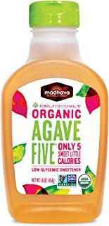 Madhava Naturally Sweet Organic Agave Five Low-Glycemic Sweetener, 16 Ounce