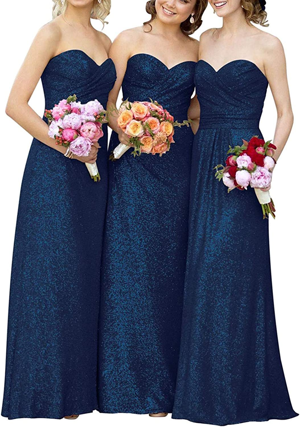 EUMI Bridesmaid Dresses Long Sequin Off The Shoulder Pleat Formal Evening Gowns