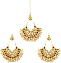 Ratna Traditional wedding wear Antique gold plated Ethnic designer Bollywood Earring with tikka fore head set
