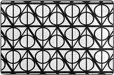 Black White Monochrome Geometric Harry Background Doormat Personalized Indoor Floor Mats Living Room Bedroom Bathroom Door Ma