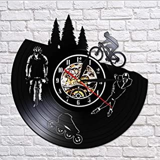 Wall Clocks Dirt Bike Bicycle Vintage Vinyl Record Silent Wall Clock Skating Hanging Wall Watch Biker Cyclist Skater Sport...