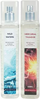 Ajmal Wild Waters EDT & Mercurial Thunder EDT Combo pack of 2 each 250ml (Total 500ML) for Men & Women + 4 Parfum Testers