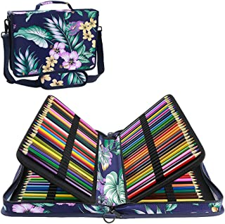 YOUSHARES 160 Slots Colored Pencil Case - Colorful Large Capacity Pen / Pencil Organizer with Strap for Watercolor Pencils, Cosmetic Lipsense and Make up Brush (Mulberry Blue)