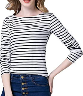 Women's Casual Long Sleeve Shirts Stripe Tees Round Neck Tank Tops