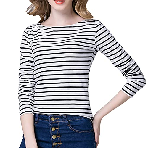 df0c4244 Tulucky Women's Casual Long Sleeve Shirts Stripe Tees Round Neck Tank Tops