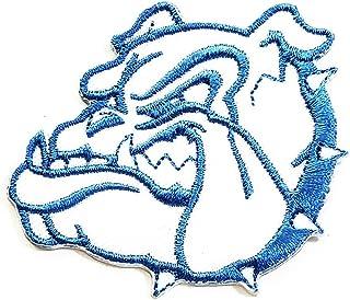 White Blue Head Bulldog Cartoon Pitbull Animal Sticker Embroidery Patch Cute Puppy Pug Dog Pitbull Bulldog Dog Pet Iron-on...