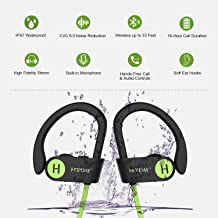 Bluetooth Headphones - Waterproof Sports Earphones - HD Stereo - Sweatproof Earbuds - Adjustable Ear - Hooks with Carrying Case by SAKAcare with Noise Cancelling - 10 Hour Workout.