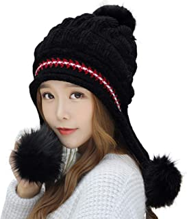 E.Joy Online Women Peruvian Earflap Beanie Hat Knitted Pom Winter Snow Ski Hat Ladies
