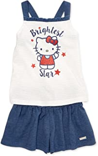 82a0eb0c9ddc Hello Kitty Little Girls Graphic-Print Tank Top   Shorts Set Size 4 Blue