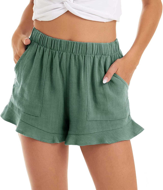 MAGCOMSEN Womens Casual Shorts Summer Comfy Beach Shorts Ruffle Hem with 2 Pockets