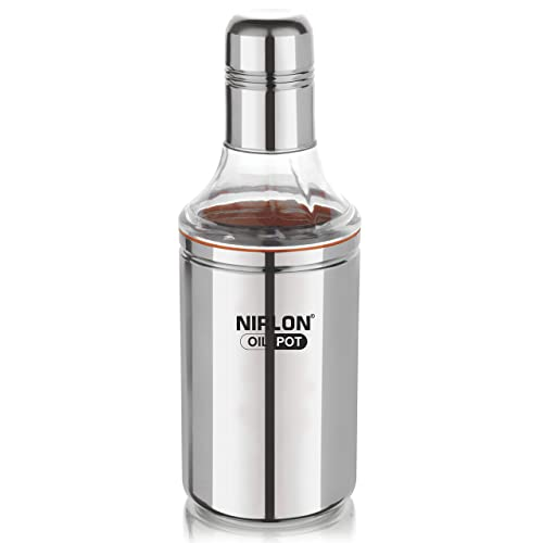 Nirlon Stainless Steel Oil Pot, 1 Litre, Silver