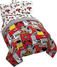 Jay Franco Disney/Pixar Incredibles Super Family 4 Piece Twin Bed Set - Includes Reversible Comforter & Sheet Set - Super Soft Fade Resistant Polyester - (Official Disney/Pixar Product)