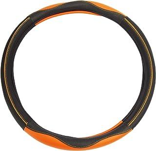 Leather Splicing Steering Wheel Sleeve Black-Orange