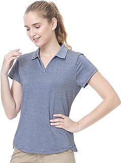 ANIVIVO Women Golf Polo Shirts V-Neck, Tennis Shirts Solid Cool Feeling Active Shirts Sports