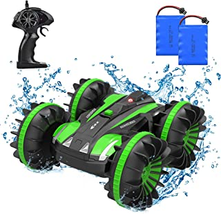 4WD Amphibious Remote Control Car, 2.4Ghz 1/18 Waterproof RC Stunt Car Boat with 80m Remote Control 360 ° Rotation Off Roa...