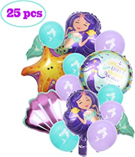Party Nice 25 pcs Mermaid Balloons Birthday Party Supplies Mermaid Mylar Balloons for Mermaid Under The Sea Birthday Party Baby Shower Decorations