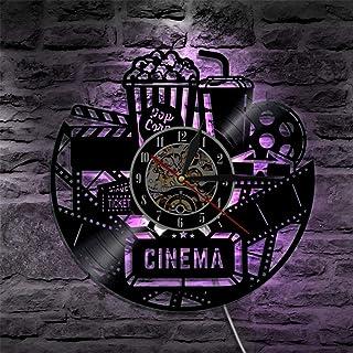 Reloj de pared de disco de vinilo de 1 pieza Reloj de diseño moderno Reloj de película de película Reloj de pared Reloj de tiempo Coca-Cola de palomitas de maíz para regalo de amante de la película