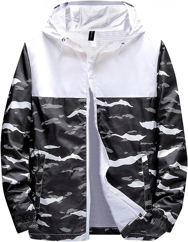 Mens Waterproof Jacket Lightweight with Hood Zip Up Long Sleeve Patchwork Camouflage Thin Jacket Outdoors Windbreaker Coat