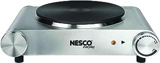 Nesco SB-01 Stainless Steel Electric Burner, 1500-watt, Silver