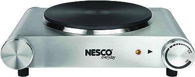 Nesco SB-01 Stainless Steel Electric Burner, 1500-watt, standard, Silver