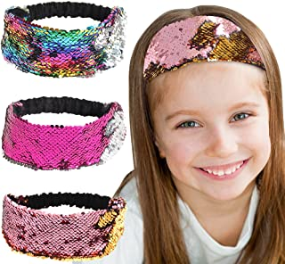 QtGirl Mermaid Sequin Headbands for Girls, 3 Pack Reversible Flip Sequins Headband Stretch Elastic Hairband for Teens Girls and Women Party