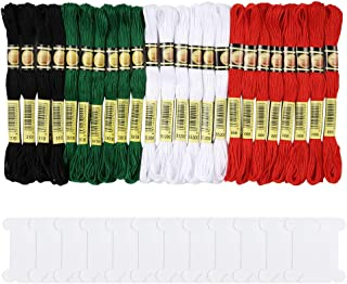 Pllieay 24 Skeins Christmas Cross Stitch Threads, 4 Colors Christmas Embroidery Floss Friendship Bracelets Floss with 12 Pieces Floss Bobbins for Knitting, Cross Stitch Project