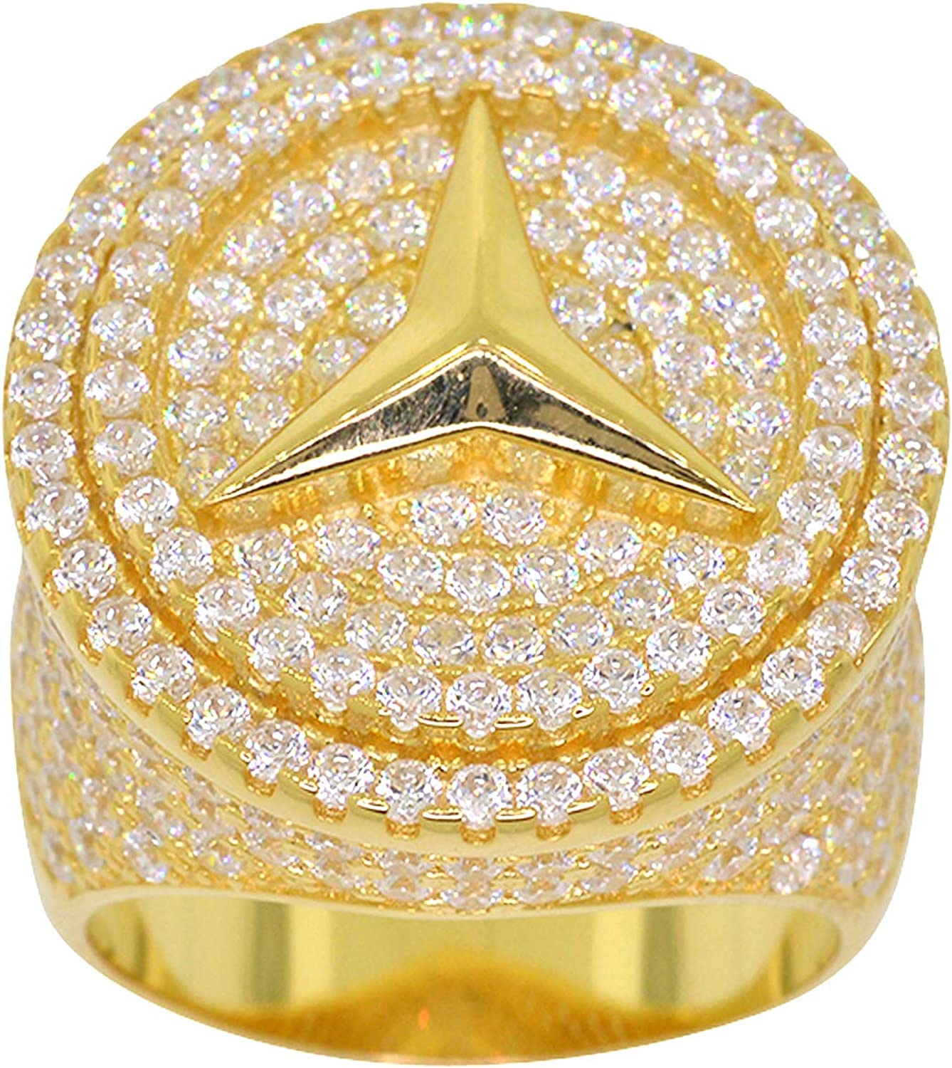 Men's NEW before free shipping selling Gold-Plated Sterling Silver Round Zirconia Iced Cut Cubic
