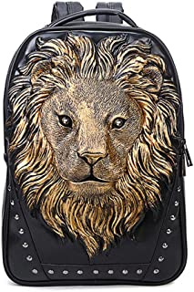 Hamkaw 3D Lion Backpack Studded Animal PU Leather Cool Rucksack Shoulder Bag Bookbag Knapsack for Men/Boys